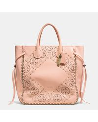 COACH | Pink Tatum Studded Tall Tote In Whiplash Leather | Lyst