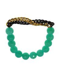 MaLi Beads | Green Kaelyn - Gemstone Beaded Bracelet With 18kt .18 Gun Metal Chain | Lyst