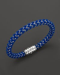 John Hardy | Men'S Bedeg Silver Bracelet On Blue Nylon Cord for Men | Lyst