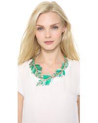 Oscar de la Renta - Blue Marquise Stone Resin Leaf Necklace - Lyst
