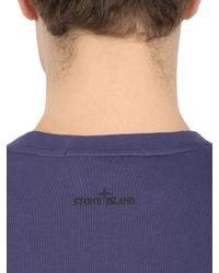 Stone Island | Blue Slim Fit Cotton Jersey Logo Tshirt for Men | Lyst