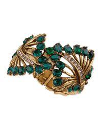 Oscar de la Renta - Green Cutout Jeweled Cuff Bracelet - Lyst