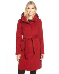 Ellen Tracy | Red Belted Long Wool Blend Coat With Detachable Hood | Lyst