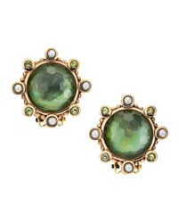 Stephen Dweck - Green Mother-Of-Pearl And Quartz Button Earrings - Lyst