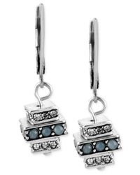Kenneth Cole | Metallic Silver-tone Blue And Clear Crystal Stacked Square Drop Earrings | Lyst
