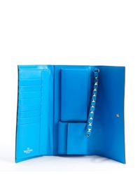 Valentino - Cobalt Blue Leather Rockstud Studded Detail Wallet - Lyst