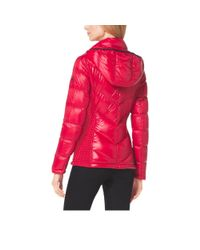 Michael Kors - Red Hooded Quilted Nylon Jacket - Lyst
