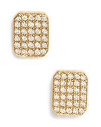 Bony Levy | Metallic 'Aurora' Diamond Pave Rectangular Stud Earrings | Lyst