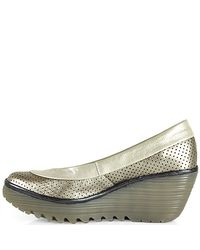 Fly London - Gray Perforated Wedge - Lyst