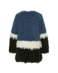 Shrimps | Blue Plum Colour-block Faux-fur Coat | Lyst
