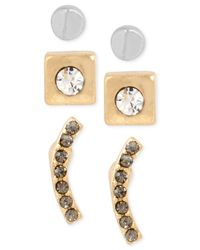 Kenneth Cole - Metallic Two-tone Pavé Curved Bar Stud Earring Set - Lyst