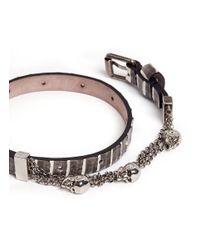 Alexander McQueen | Black Skull Chain Double Wrap Python Leather Bracelet | Lyst
