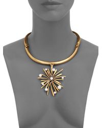 Oscar de la Renta - Metallic Starburst Faux Pearl Pendant Collar Necklace - Lyst