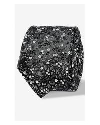 Express | Black Floral Slim Silk Tie - Blue for Men | Lyst