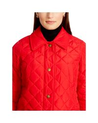 Ralph Lauren | Red Diamond-quilted Full-zip Coat | Lyst
