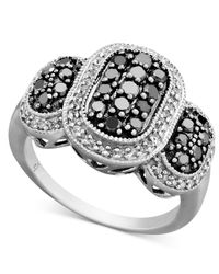 Macy's - Black Diamond And White Diamond Oval Ring In Sterling Silver (1 Ct. T.W.) - Lyst