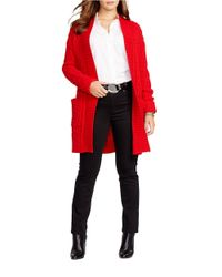 Lauren by Ralph Lauren | Red Plus Cable-knit Open-front Cardigan | Lyst