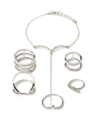 Forever 21 - Metallic Rhinestoned Hand Chain Set - Lyst