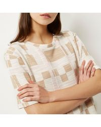 River Island - Multicolor Cream Check Print Longline T-shirt - Lyst