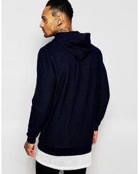 ASOS - Blue Longline Hoodie In Indigo Wash With Asymmetric Zip for Men - Lyst