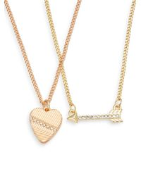 BCBGeneration - Metallic Share The Love Heart & Arrow Necklace Set - Lyst