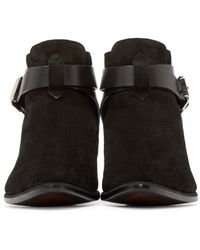 CoSTUME NATIONAL - Black Suede Buckle Boots - Lyst