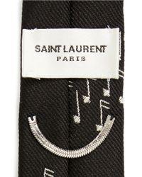 Saint Laurent - Black Music Note Embroidery Silk Skinny Tie for Men - Lyst