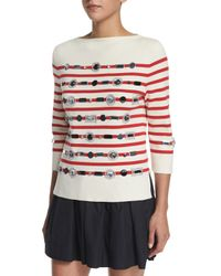 Marc Jacobs - Red Striped 3/4-sleeve Sweater W/ Jewel Embellishments - Lyst