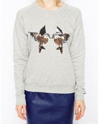 Sugarhill - Gray Sequin Birdy Sweatshirt - Lyst