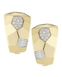 Roberto Coin | 18k Yellow Gold Geometric Diamond Martellato Earrings | Lyst