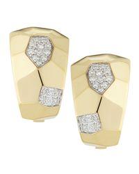 Roberto Coin - 18k Yellow Gold Geometric Diamond Martellato Earrings - Lyst
