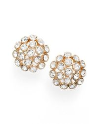 Anne Klein | Metallic Crystal Cluster Clip Earrings | Lyst