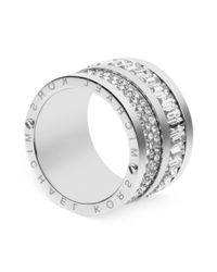 Michael Kors - Metallic Silvertone Pave and Baguette Crystal Barrel Ring - Lyst