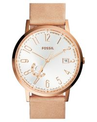 Fossil - Metallic 'vintage Muse' Leather Strap Watch - Lyst