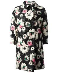 Marni | Black Pimpernel Blossom Jacquard Double Breasted Coat | Lyst
