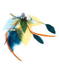 Katerina Psoma - Multicolor Feathered Beaded Brooch - Lyst