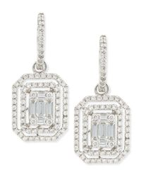 Platinum Heart | Metallic Emerald-Cut Diamond Hook Earrings With Illusion Setting And Double Halos | Lyst