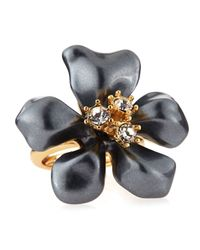 Kenneth Jay Lane - Adjustable Pearly Gray Crystal Flower Ring - Lyst