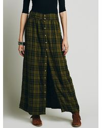 Free People - Green Eva Buttonfront Maxi - Lyst