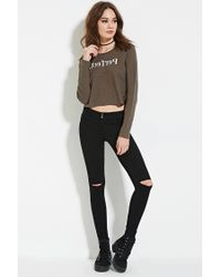 Forever 21 - Black Distressed Skinny Jeans - Lyst