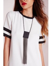 Missguided | Gray Tassle Gunmetal Necklace | Lyst