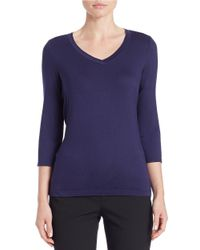 Lord & Taylor | Blue Iconic Fit V-neck Tee | Lyst