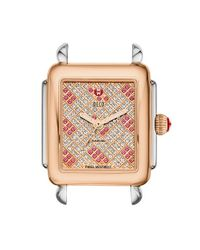 Michele - Pink 'deco 16' Two-tone Diamond & Topaz Dial Watch Case - Lyst