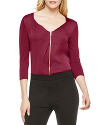 Vince Camuto | Purple Zip-front Shirt | Lyst