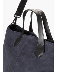 Mango - Blue Suede Shopper Bag - Lyst