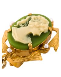 Dolce & Gabbana | Green Cameo Pearl Earrings | Lyst