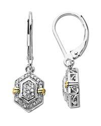 Lord & Taylor - Metallic Diamond Earrings In Sterling Silver - Lyst