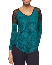 Calvin Klein Jeans | Black Printed Lace Raglan-sleeve Top | Lyst