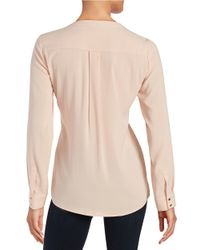 Calvin Klein | Pink Pleated-front Blouse | Lyst