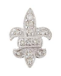 Sydney Evan - Metallic 14k Fleur-de-lis Single Stud Earring With Diamonds - Lyst